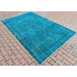 Image of Turkish Turquoise Overdyed Vintage Oushak Rug - 6′8″ × 10′6″