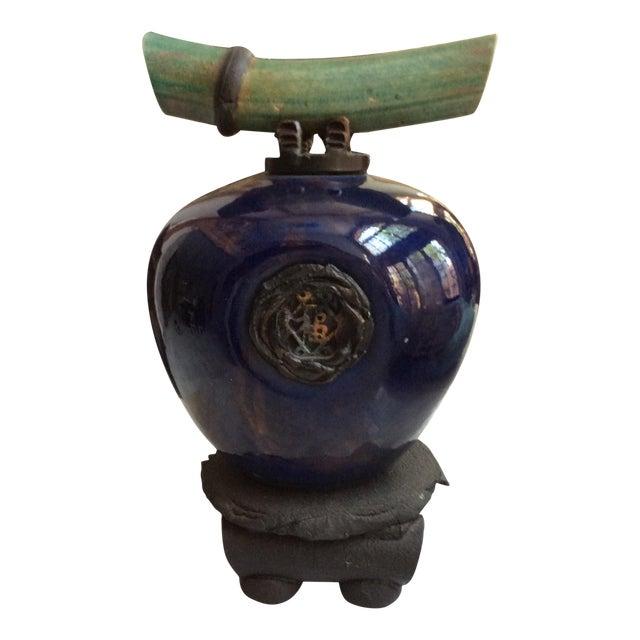 Dark Blue Ceramic Wish Keeper Urn - Image 1 of 7