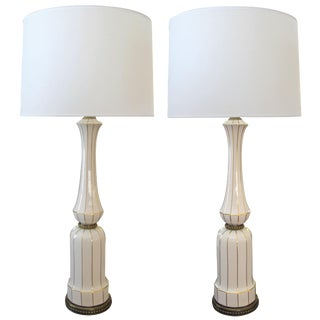 A Tall Pair of American 1960's Ivory Porcelain Baluster-Form Lamps; by Lenox