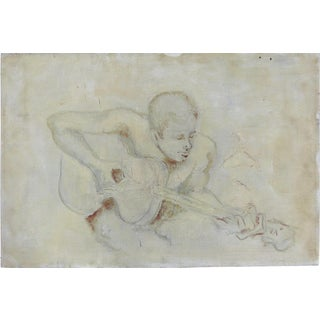 Mid-Century Man With Guitar Oil Painting
