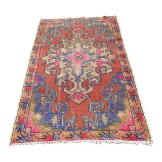 Antique Turkish Faded Rug - 4′2″ × 7′1″