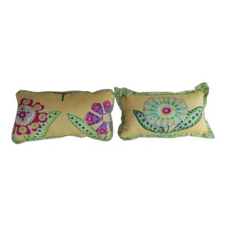 Yellow Multi-Colored Pillows - A Pair