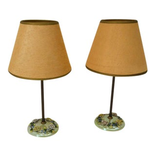 Czech Lustreware Candlestick Lamps - a Pair