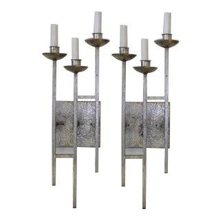 1960s Sconces Hammered Silvered Metal Appliques