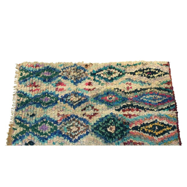 "Vintage Boucherouite Moroccan Carpet - 7'7"" X 4'4"" - Image 1 of 3"