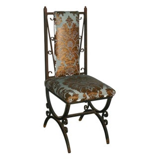 Scrolled Iron Chair With Embossed Velvet