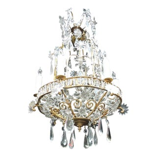 Early 20th C French Bronze Crystal Chandelier, attributed to Maison Baguès