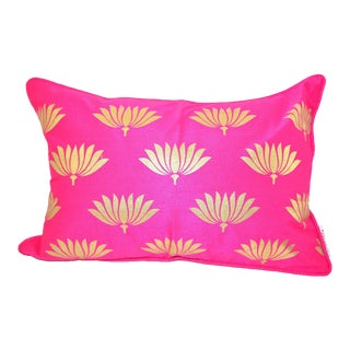 Hand Block Printed Pink Lumbar Throw Pillow