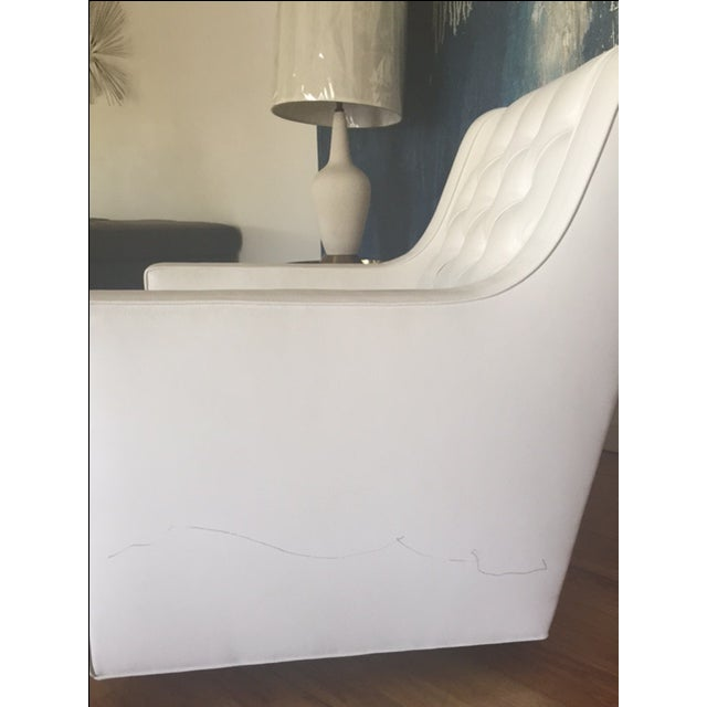 Image of White Faux Leather Swivel Rocking Chair