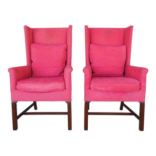 Hickory Chair Chippendale Style Pink Wingback Chairs - A Pair