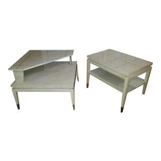 Mid-Century Formica White End Tables - a Pair