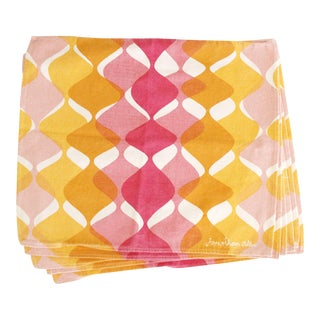 Jonathan Adler Retro Pink, Yellow & White Cotton Napkins - Set of 6