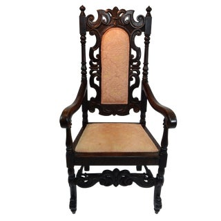 Antique Intricately Carved Oak Throne Chair