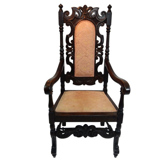 Antique Intricately Carved Oak Throne Chair - Image 1 of 10
