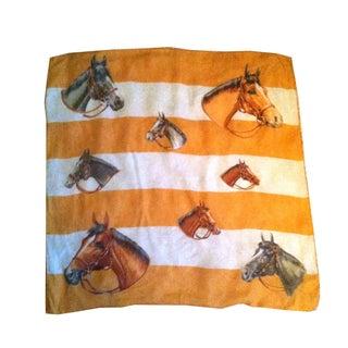 1950s Horse Art Equestrian Print Silk Scarf