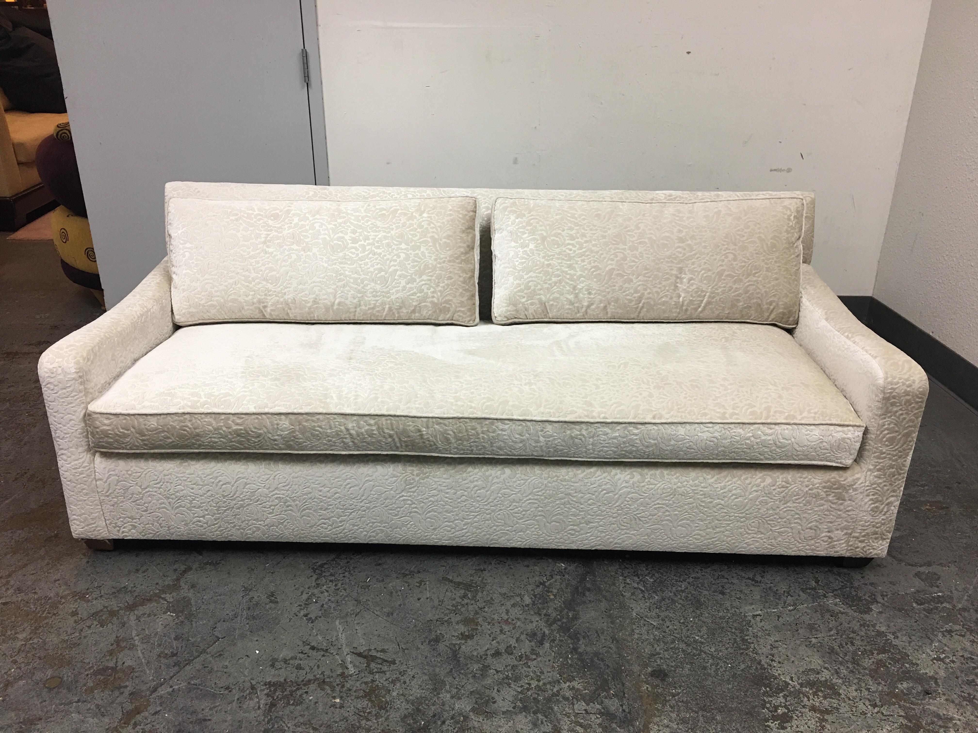 Fitzgerald Of San Francisco Off White Velvet Sofa   Image 3 Of 11