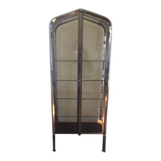 Vintage Industrial Metal & Glass Cabinet