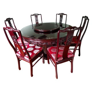 Oriental Dining Table With Chairs - Set of 9