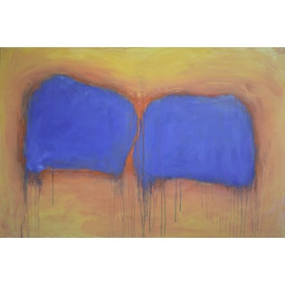 "Stephen Remick ""Sunrise, Orange Wrapping Blue"" Original Abstract Painting"