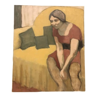 Mid-Century Lady on Bed Oil Painting