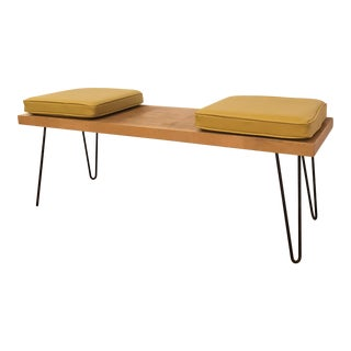 Mid-Century Modern Hairpin Leg Bench With Cushions