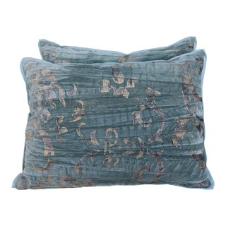 Pair of Stenciled Velvet Pillows
