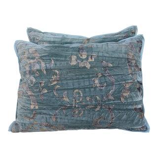 Pair of Stenciled Velvet Pillows