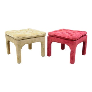 Vintage Hollywood Regency Parson Pink & Beige Stools Upholstered Bench Ottoman - a Pair
