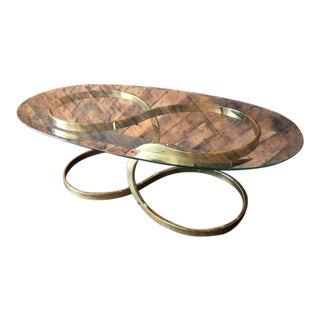 Gorgeous Vintage Brass Ribbon Coffee Table