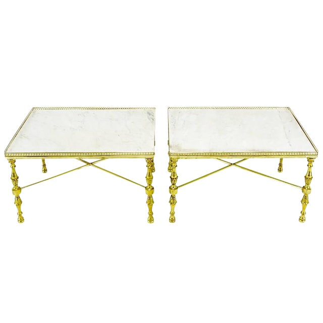 Brass Gallery and Carrara Marble Regency X-Base Side Tables - Image 1 of 7