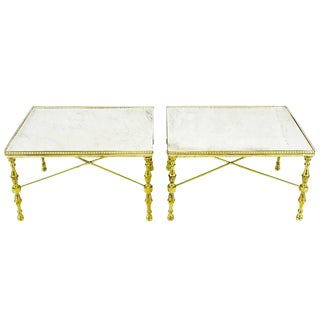 Brass Gallery and Carrara Marble Regency X-Base Side Tables