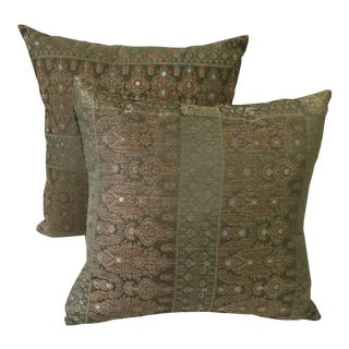 Green Embroidered Pillows - A Pair