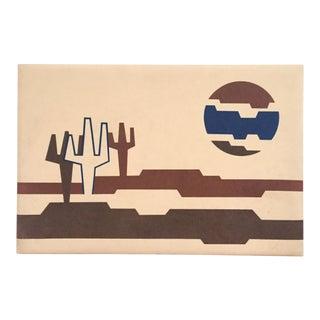 Mid Century Desert Cactus Felt Art by Ron Brejtfus