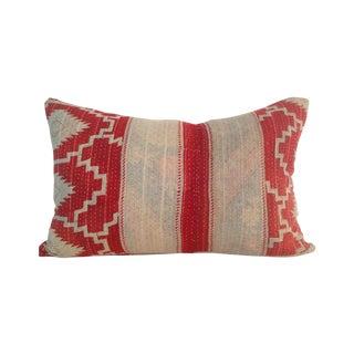 Vintage Red & Tan Block Print Kantha Quilt Pillow