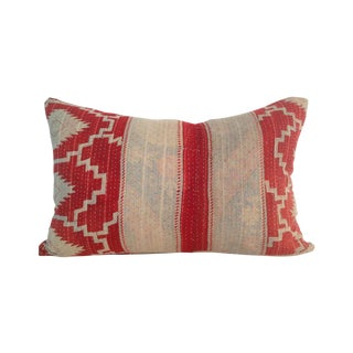 Vintage Red & Tan Block Print Kantha Quilt Pillow