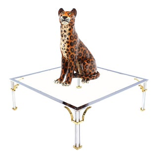 Tall Porcelain Sculpture of a Cheetah, circa 1970s
