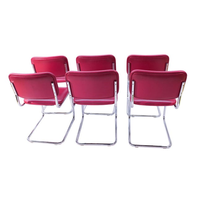 Loewenstein Mid-Century Chrome Cantilever Chairs - Set of 6 - Image 5 of 9