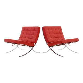 Pair of Vintage Red Leather Barcelona Chairs, Chromed Steel Frames