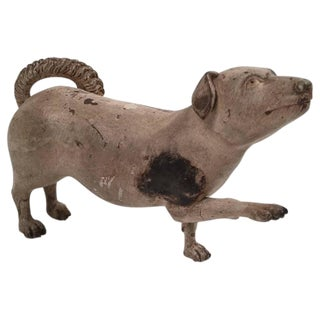 A Charming and Rare 19th Century Carved and Painted Wood Dog Sculpture