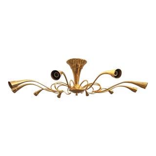 Oscar Torlasco Sculptural Brass Chandelier