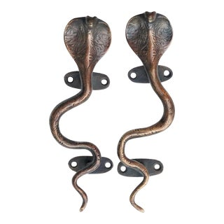 Dark Brass Cobra Door Handles - A Pair