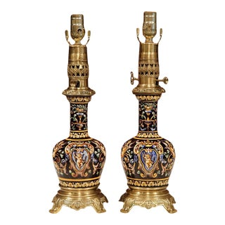 19th Century French Hand Painted Porcelain Oil Lamps - A Pair