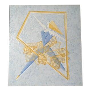 "Mid-Century Mary M. Kennedy ""Kite Design"" Painting"