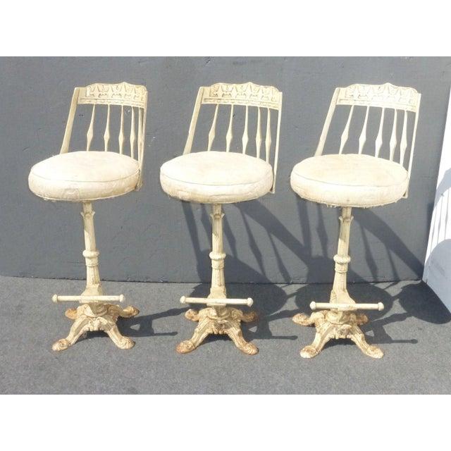 Image of Ornate Cast Iron Barstools- Set of 3