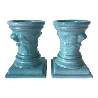 Turquoise Glazed Terra Cotta Candle Holders
