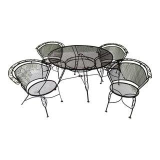 Arthur Umanoff Wrought Iron Patio Set Table Chair