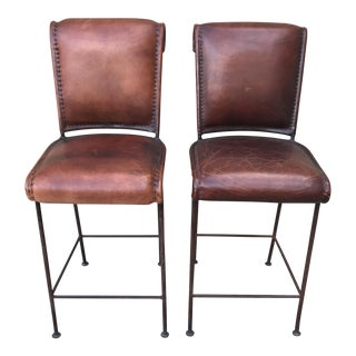 Leather & Iron Bar Stools- A Pair