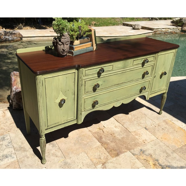Vintage Green Milk Paint Buffet Sideboard Credenza - Image 3 of 11