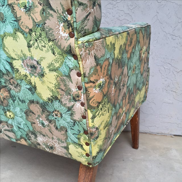Mid-Century Floral Vinyl & Walnut Lounge Chair - Image 8 of 9