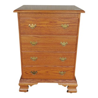 Tom Seely Solid Oak Chippendale Style Night Stand Chest